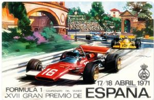Spanish Grand Prix 1971 rusted metal sign (pst 1812)